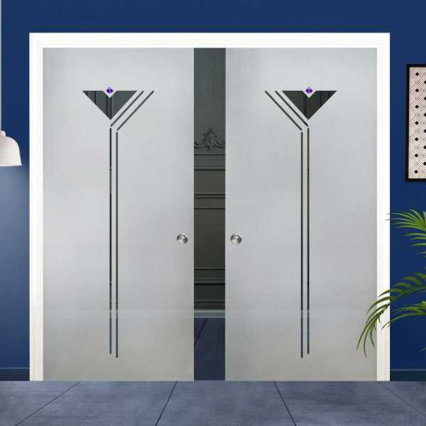 Double Pocket Glass Barn Door (Model DPSGD-0136 Full-Private)_Handle Bar