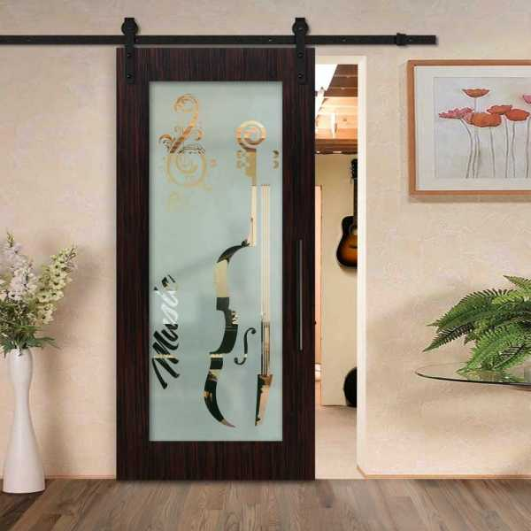 Sliding veneered barn door with glass insert (semi-private frosted design) and carbon steel sliding system