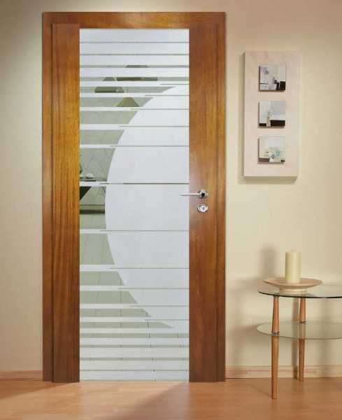 Solid Wood Hinged Door with Glass Insert HWDI-0026