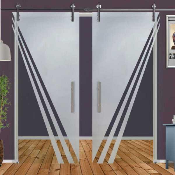 ++Sales Offers++ Double Sliding Glass Barn Door DSGD-V1000-0052