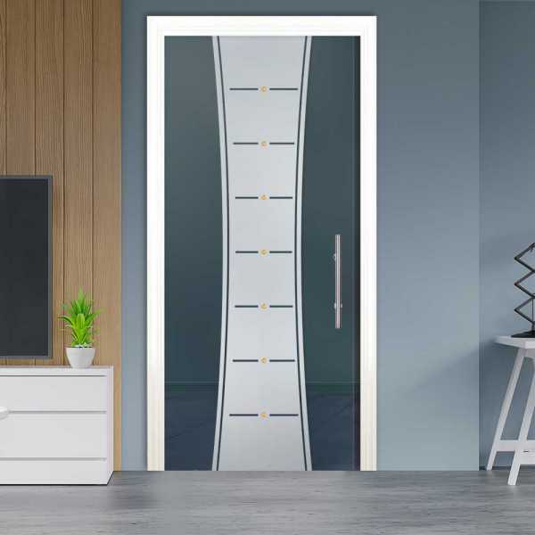 Sliding Pocket Glass Door with Frosted Design and Hardware PSGD-0064