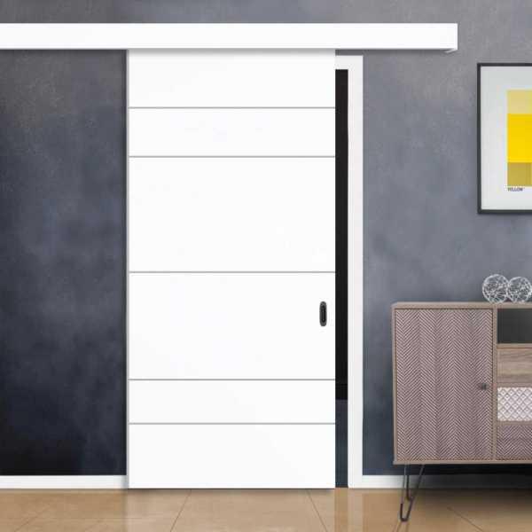 Flush Barn Door with Hardware Kit Alu100 Wood (Fascia) + Coated with polyurethane coating
