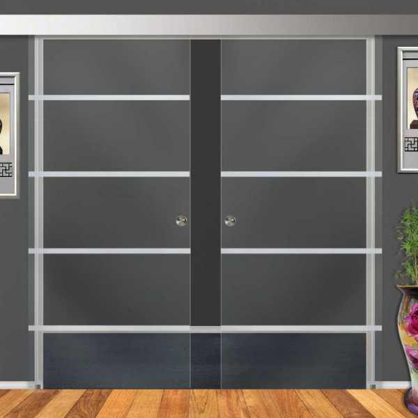 """26"""" x 84"""" Double Sliding Barn Glass Door DSGD-ALU100-0016 Non-Private"""