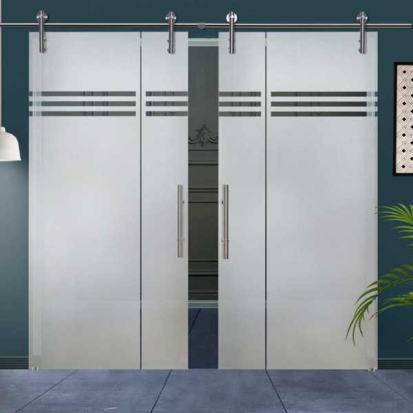 Double Glass Barn Door (Model DSGD-V1000-0020 Semi-Private)
