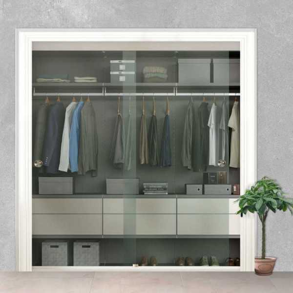 Clear Frameless 2 Leaf Sliding Closet Bypass Glass Door with Hardware CGD-0201