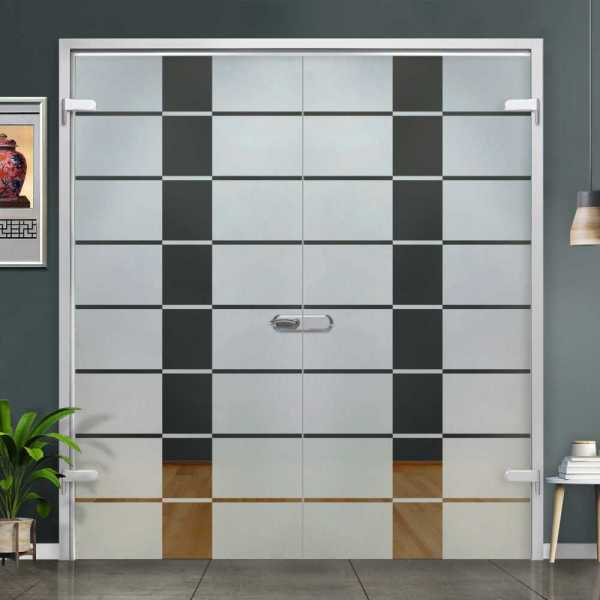 Double Hinged Glass Door (Model H-H+DHGD-0050 Semi-Private)