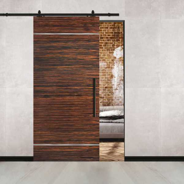 Ebony Flush Sliding Barn Door with 2 Stainless Steel Strips + Carbon Steel Hardware and Handle