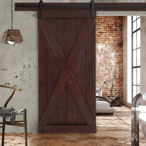 "36""x84"" Mahogany Solid Wood X Barn Door with Walnut Stain + Hardware"