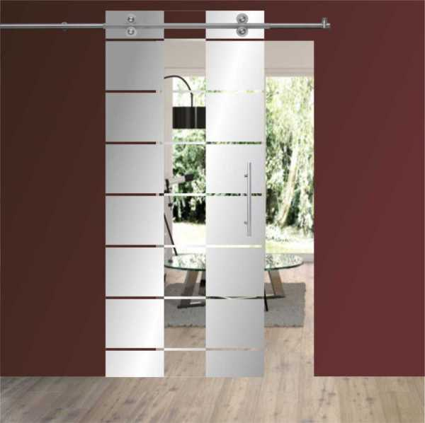 Sliding Glass Barn Door SGD-V2000-0055 semi-private