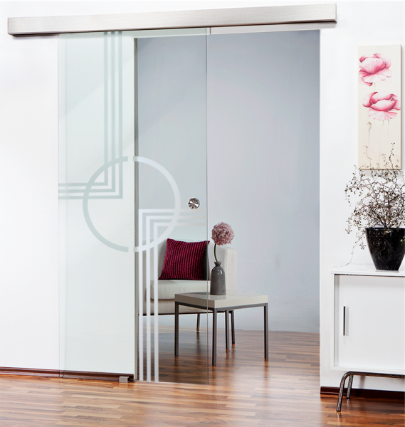 Sliding Glass Barn Door SGD-ALU100-0144 semi-private