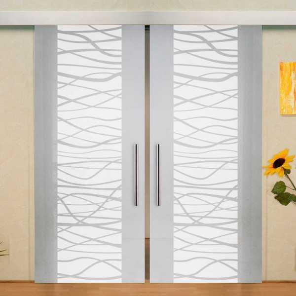 "Double Sliding Glass Barn Door, ""2x 32"" x 84"", Glass Thickness: 10mm, Handlebar, privacy: full"