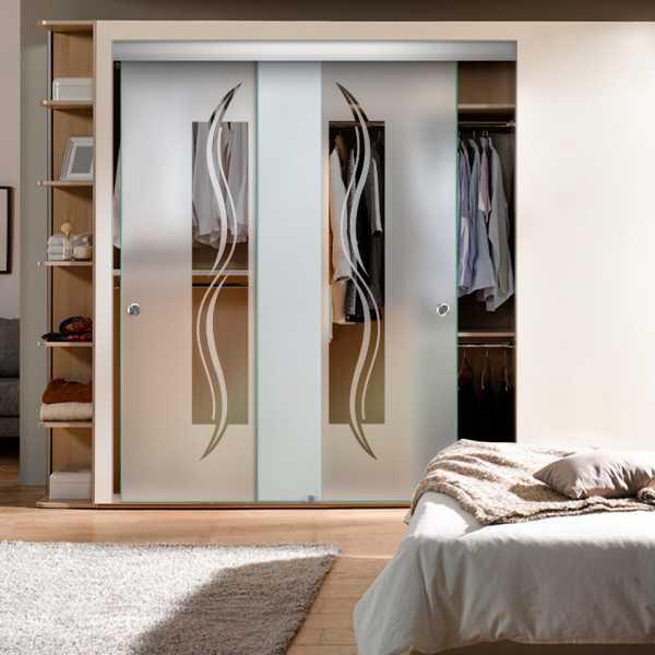 Frameless 2 Leaf Sliding Closet Bypass Glass Door with Hardware CGD-0009