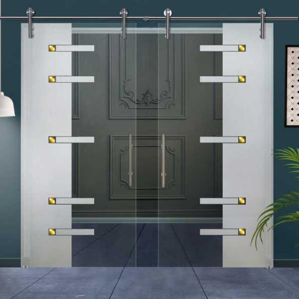 Double Glass Barn Door (Model DSGD-V1000-0015 Semi-Private)