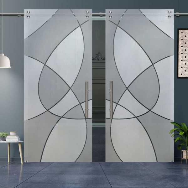 Double Glass Barn Door (Model DSGD-V1000-0014 Full-Private)