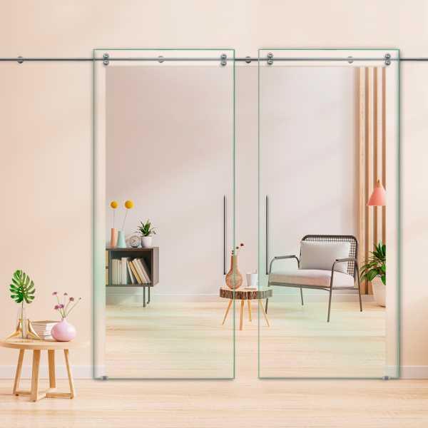 Clear Double Sliding Glass Barn Door DSGD-V2000-0800