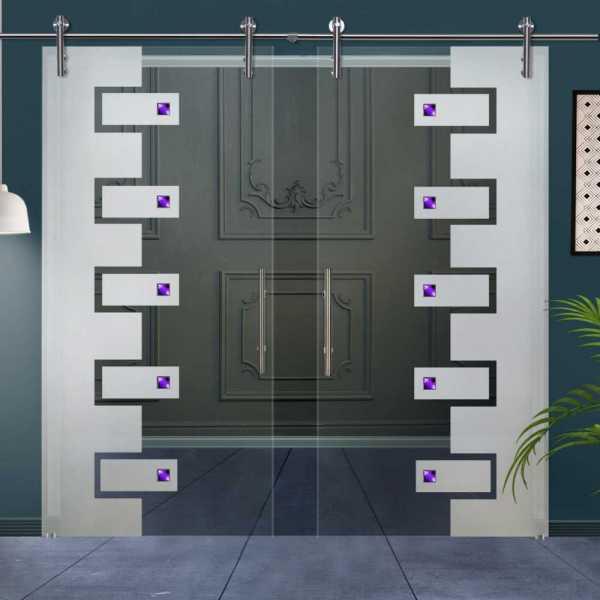 Double Glass Barn Door (Model DSGD-V1000-0016 Semi-Private)