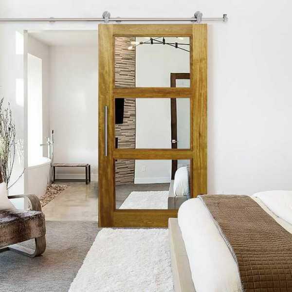 "Hardwood African Oak Sliding Barn Door with Mirror Insert, 34""x84"" Inches"