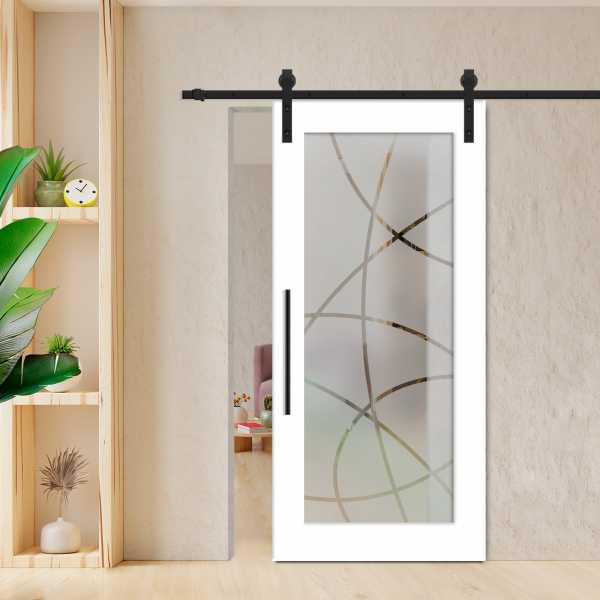 Sliding Barn Door (Model WGD-0015 Semi-Private) with Carbon Steel Hardware
