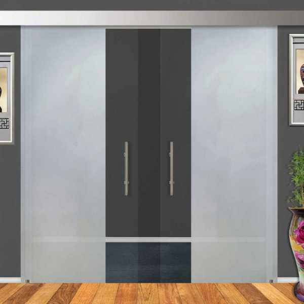2-Leaf Glass Barn Door (Model DSGD-ALU100-0001 Semi-Private)