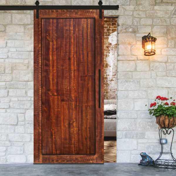 Rustica Ranch Vertically Barn Door Mahogany Stain with & Carbon Steel Hardware.