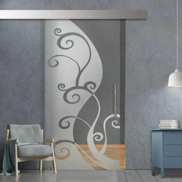 Glass Barn Door (Model SGD-ALU100-0228 Semi-Private)