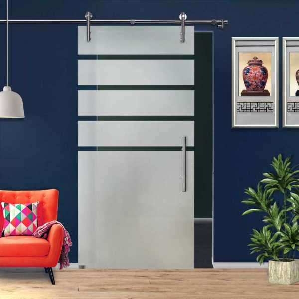 ++Sales Offers++ Single Sliding Glass Barn Door SGD-V1000-0063