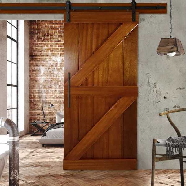 Real Solid Hardwood Double Z Sliding Barn Door WD-0008