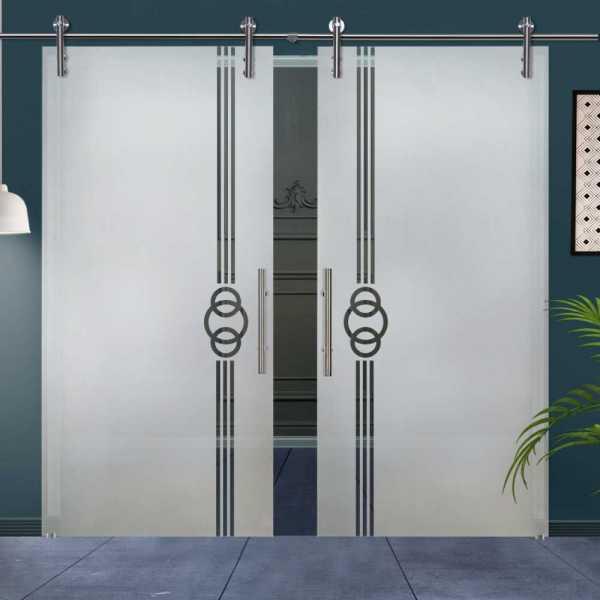 Double Glass Barn Door (Model DSGD-V1000-0033 Semi-Private)