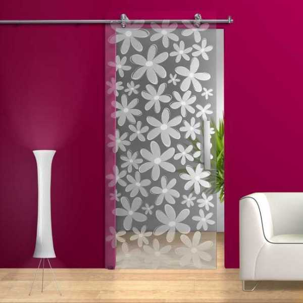 Sliding Glass Barn Door + Frosted / Sandblasted + Flowers Decor Design