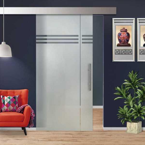 Glass Barn Door (Model SGD-ALU100-0211 Semi-Private)