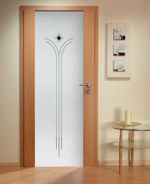 Solid Wood Hinged Door with Glass Insert HWDI-0009