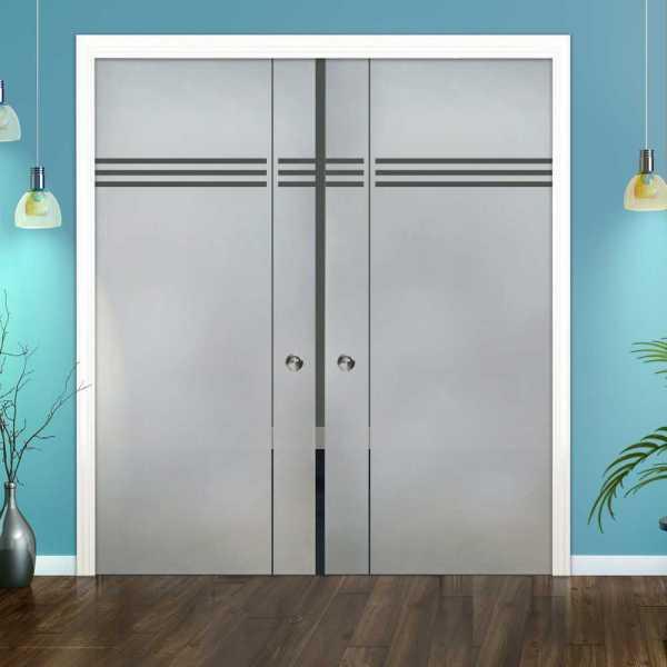 Double Pocket Glass Barn Door (Model DPSGD-0034 Semi-Private)_Recessed Grip Handle