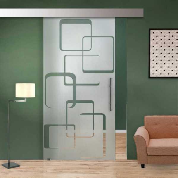 Glass Barn Door (Model SGD-ALU100-0083 Semi-Private)