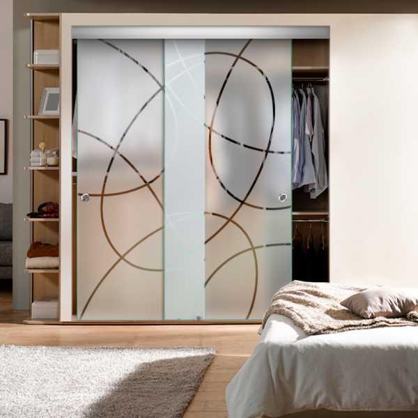 Frameless 2 Leaf Sliding Closet Bypass Glass Door with Hardware CGD-0014