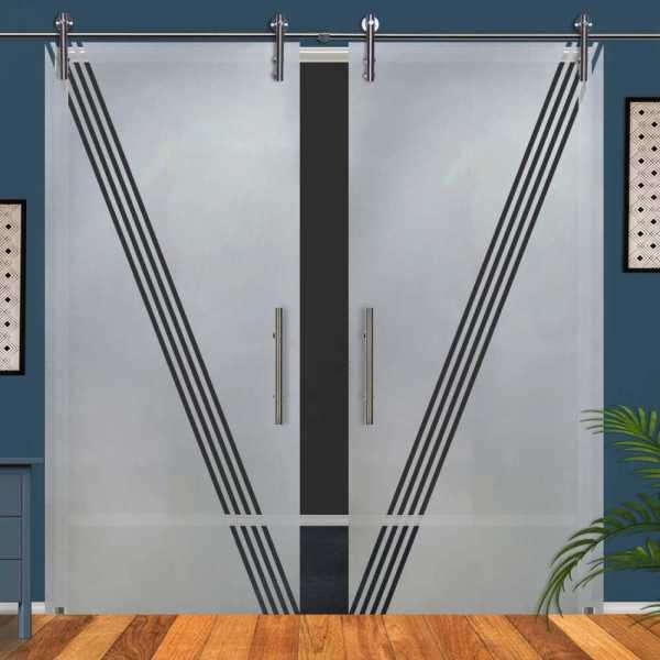 Double Glass Barn Door (Model DSGD-V1000-0052 Semi-Private)