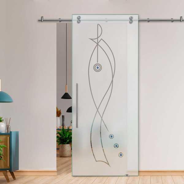 Glass Barn Door (Model SGD-V2000-0209 Semi-Private)