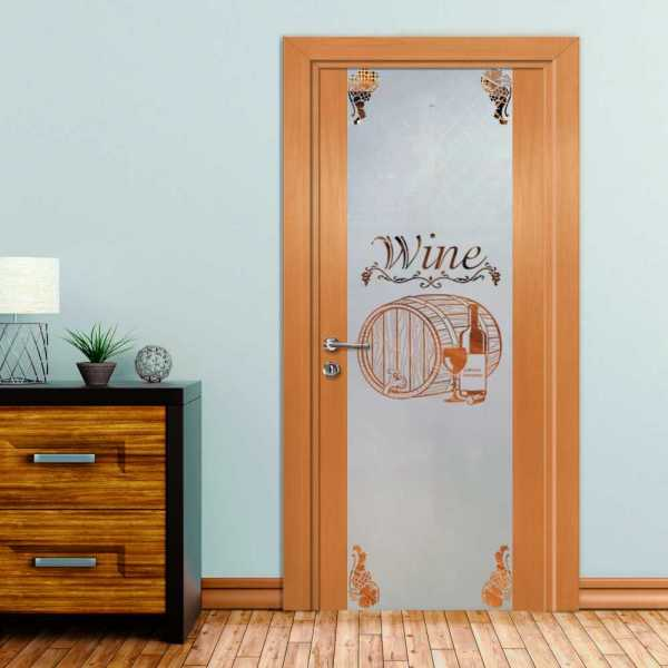 Wine Cellar Solid Wood Hinged Door with Glass Insert CHWDI-0006