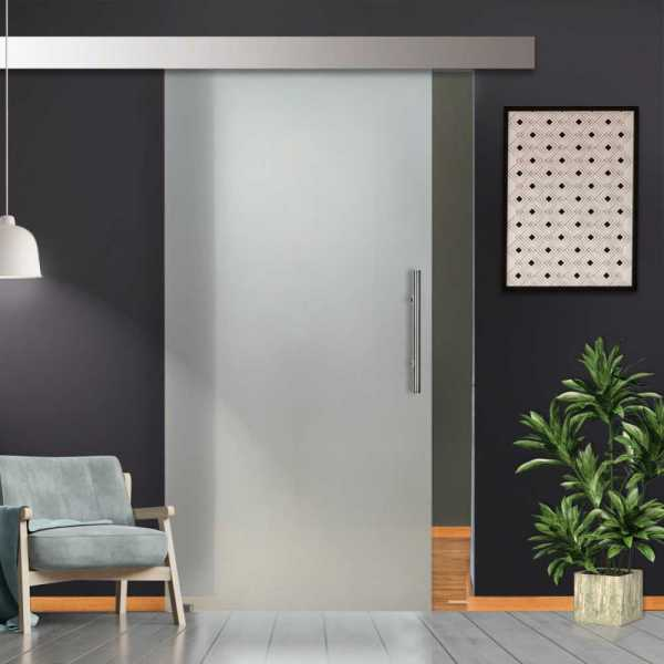 """36.5"""" x 99"""" Sliding Glass Barn Door with Full-Private Frosted Design + Hardware """"Open Box""""-"""