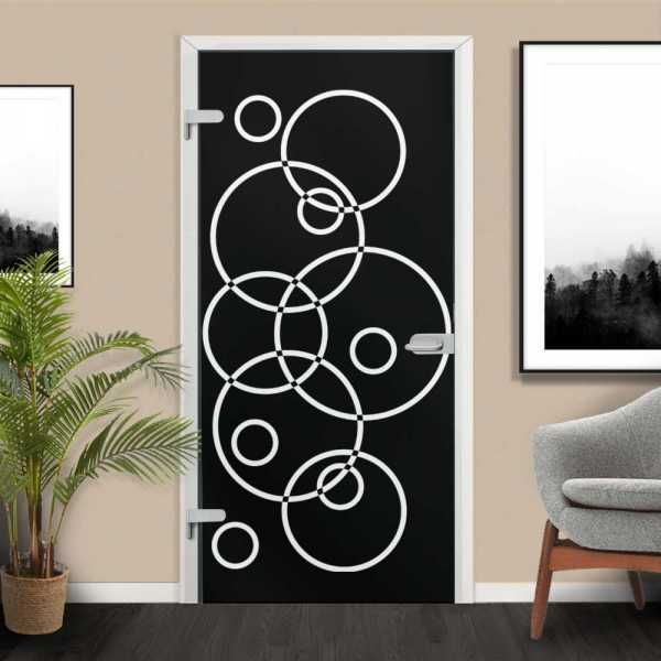 Black Hinged Glass Door with White Design