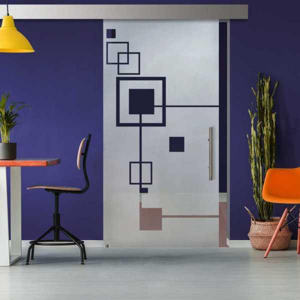 Glass Barn Door (Model SGD-ALU100-0325 Semi-Private)