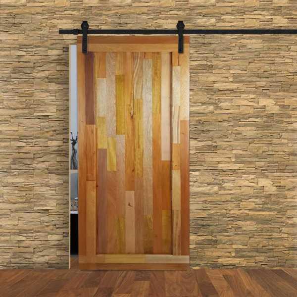Vertical Reclaimed Tropical Hardwood Sliding Barn Door WD-0010