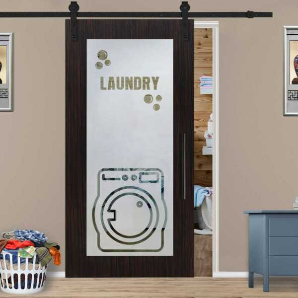 Veneered Laundry Room Sliding MDF Wood Barn Door with Glass Insert VWGD-0026