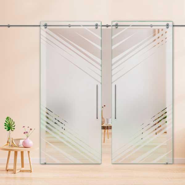 Double Sliding Glass Barn Door DSGD-V2000-0019