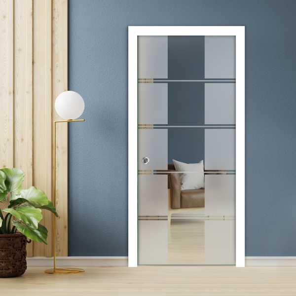 Pocket Glass Barn Door (Model PSGD-0048 Semi-Private)