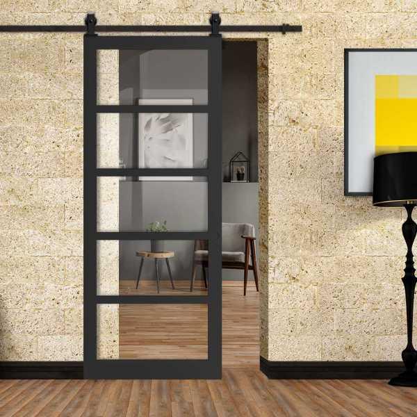 Steel Lock Sliding Barn Door with 5 Clear Glass Panels