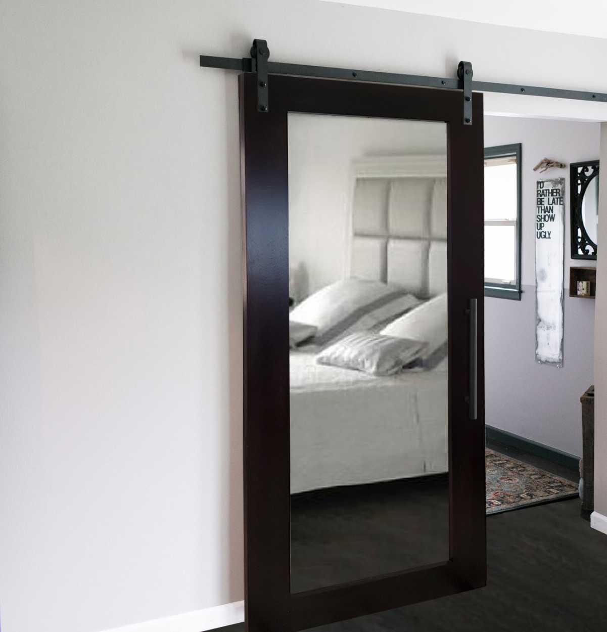 African Oak Wood Barn Door With Mirror Glass Door Us