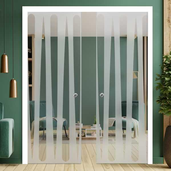 Double Pocket Glass Barn Door (Model DPSGD-0076 Semi-Private)_Recessed Grip Handle