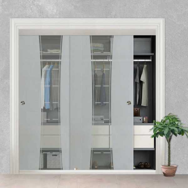 Frameless 2 Leaf Sliding Closet Bypass Glass Door with Hardware CGD-0006