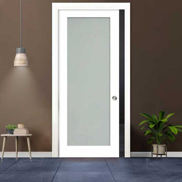 Frosted Sliding Pocket Wood Door with Glass Insert PWGD-0020