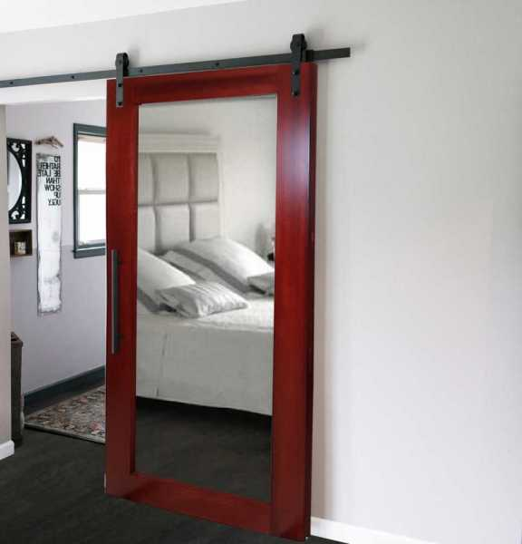 "34"" x 84"" Real Solid Hardwood Sliding Barn Door with Mirror Insert WD-0003 ""Open Box"""